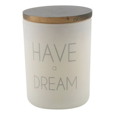 Have A Dream Frosted Glass Candle Holder with Linen Scent Wax
