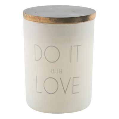 Do It with Love Frosted Glass Candle Holder with Linen Scent Wax