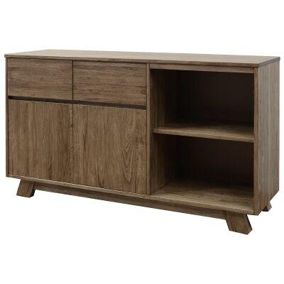 Harold Mountain Ash Timber 2 Door 2 Drawer Buffet Table, 160cm, Smoke