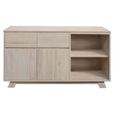 Harold Mountain Ash Timber 2 Door 2 Drawer Buffet Table, 160cm, White Wash
