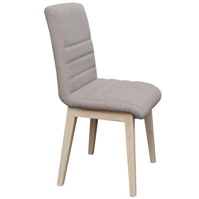 Harold Fabric Dining Chair, Mushroom / White Wash