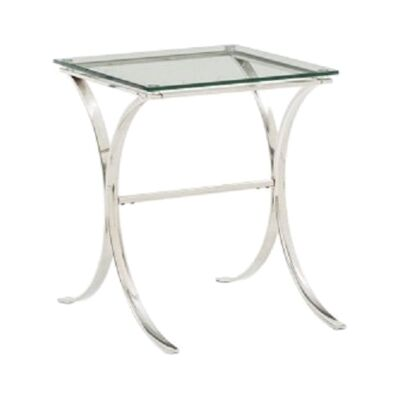 Issac Glass & Stainless Steel Lamp Table