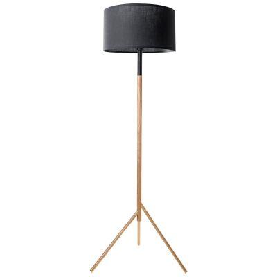Woodi Wooden Base Floor Lamp, Black / Oak