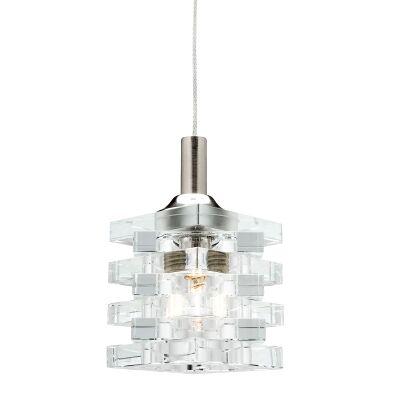 Ice Glass Pendant Light, 1 Light, 12V, Cable