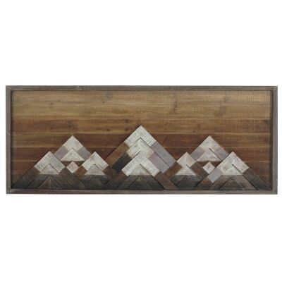 Lucinder Timber Partique Wall Art, Snowy Mountains, 114cm