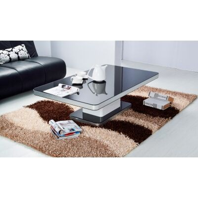 Iphone Glass Topped Metal Coffee Table, 120cm