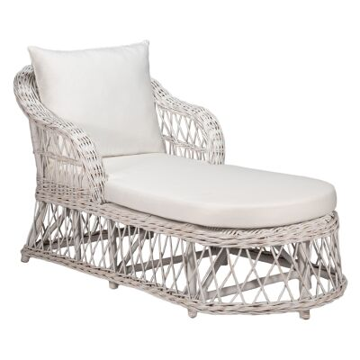 Nassau Rattan Chaise / Daybed, 160cm, White Wash / Oatmeal