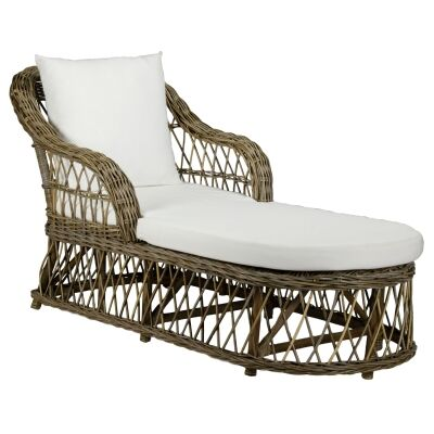 Nassau Rattan Chaise / Daybed, 160cm, Natural / Oatmeal
