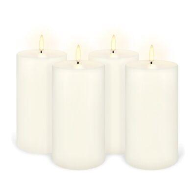 Uyuni Remote Enabled LED Wax Flameless Pillar Candle, Set of 4, Medium, Classic Ivory