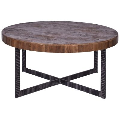 Bassel Reclaimed Elm Timber & Iron Round Coffee Table, 90cm