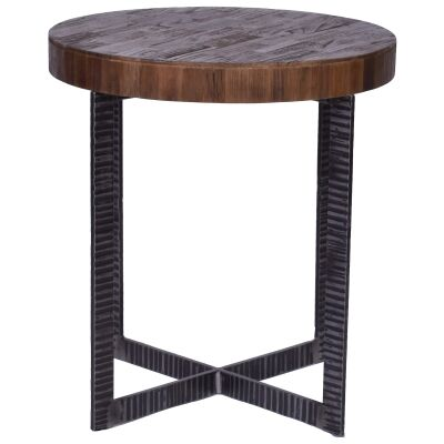 Bassel Reclaimed Elm Timber & Iron Round Side Table
