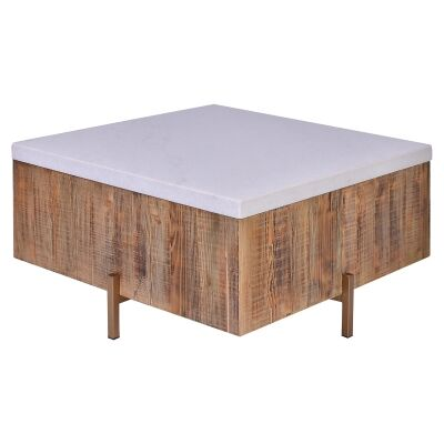Formia Marble Top Square Coffee Table, 80cm, White / Natural