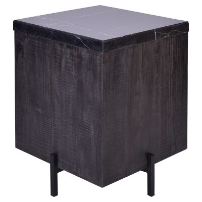 Formia Marble Top Square Side Table, Black / Dark Brown