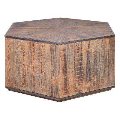 Birtinya Reclaimed Timber & Meta Hexagon Coffee Table, 100cm