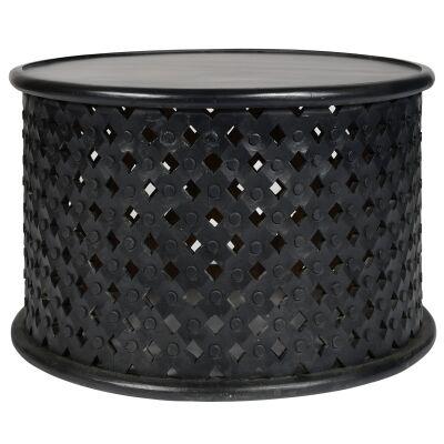 Jaipur Mango Wood Round Coffee Table, 76cm, Black
