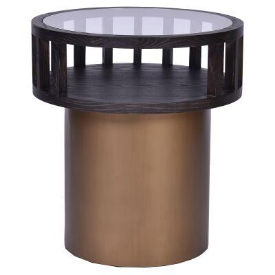 Borgo Elm Timber & Iron Round Side Table