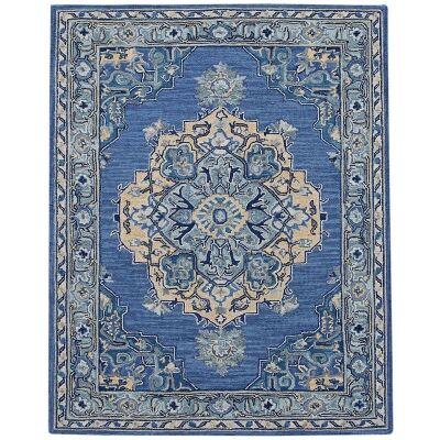 Boho Hand Tuffted Wool Rug, 160x230cm, Steel Blue
