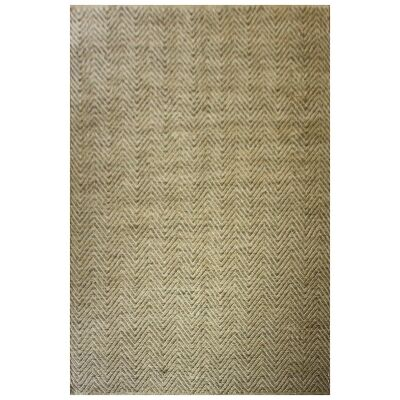 Flaxland Chevron Hand Knotted Jute Rug, 290x190cm, Natural