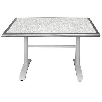 Henry Commercial Grade Dining Table, 120cm, Pebble / Silver