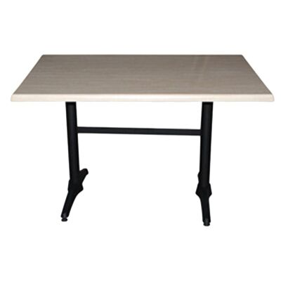 Mestre Commercial Grade Dining Table, 120cm, Travertine / Black