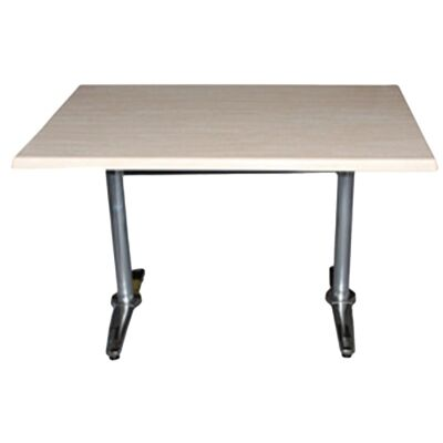 Mestre Commercial Grade Dining Table, 120cm, Travertine / Silver