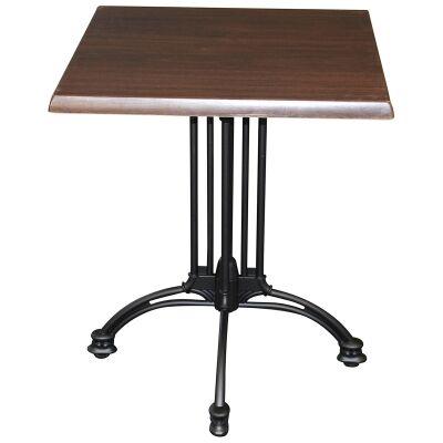 Trieste Commercial Grade Square Dining Table, 60cm, Dark Walnut / Black