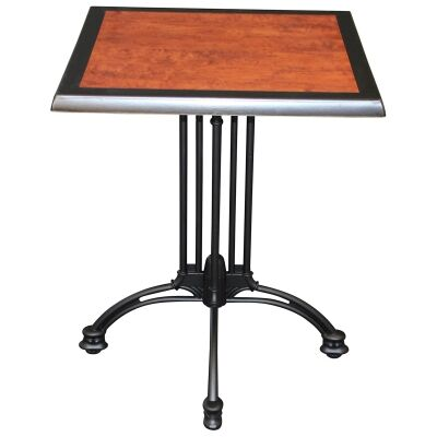 Trieste Commercial Grade Square Dining Table, 60cm, Cherrywood / Black