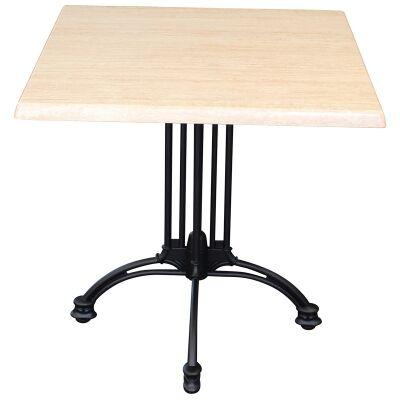 Trieste Commercial Grade Square Dining Table, 70cm, Travertine / Black