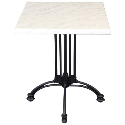 Trieste Commercial Grade Square Dining Table, 80cm, Light Marble / Black
