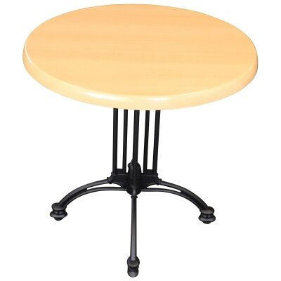 Trieste Commercial Grade Round Dining Table, 80cm, Beech / Black