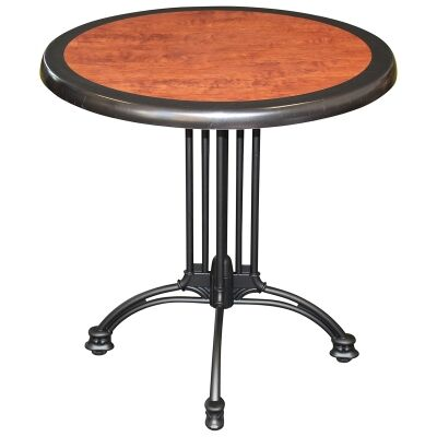 Trieste Commercial Grade Round Dining Table, 80cm, Cherrywood / Black