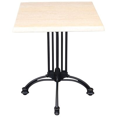 Trieste Commercial Grade Square Dining Table, 80cm, Travertine / Black