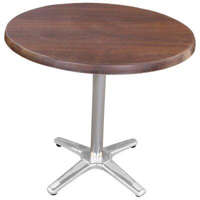 Amolaro Commercial Grade Round Dining Table, 80cm, Dark Walnut