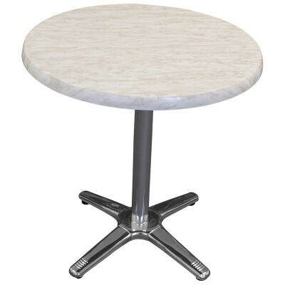 Amolaro Commercial Grade Round Dining Table, 80cm, Light Marble
