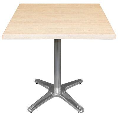 Amolaro Commercial Grade Square Dining Table, 80cm, Travertine