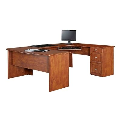 Logan Wooden U-Shape Exclusive Desk - Brushed Maple Stain