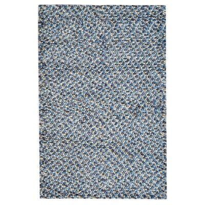 Jelly Bean Handwoven Felted Wool Rug, 150x80cm, Light Blue