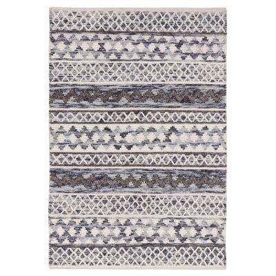 Omen Handwoven Wool Rug, 280x190cm, Ivory / Grey