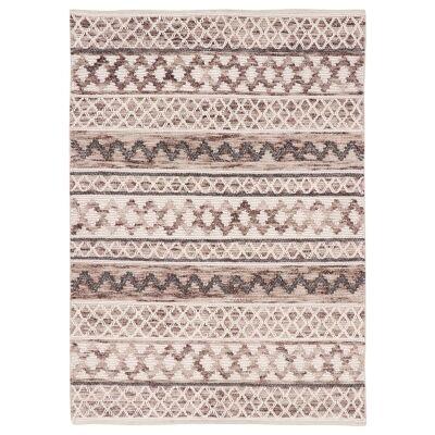 Omen Handwoven Wool Rug, 280x190cm, Ivory / Brown