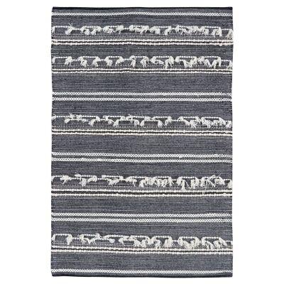 Noir Handwoven Wool Rug, 280x190cm, Charcoal