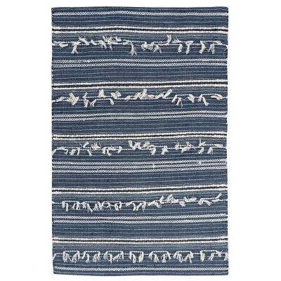 Noir Handwoven Wool Rug, 230x160cm, Denim