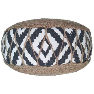Roche Jute & Fabric Round Pouf, Charcoal / White