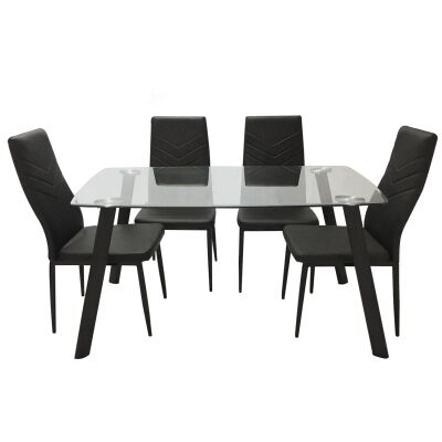 Jolly 5 Piece Glass Topped Metal Dining Table Set, 130cm, with Harley Chair