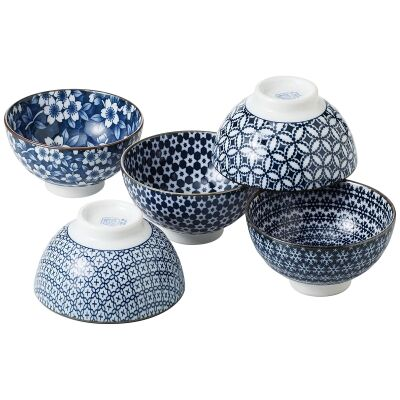 Nami 5 Piece Porcelain Rice Bowl Set