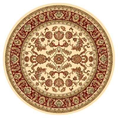 Julian Tait Turkish Made Oriental Round Rug, 160cm, Cream / Red