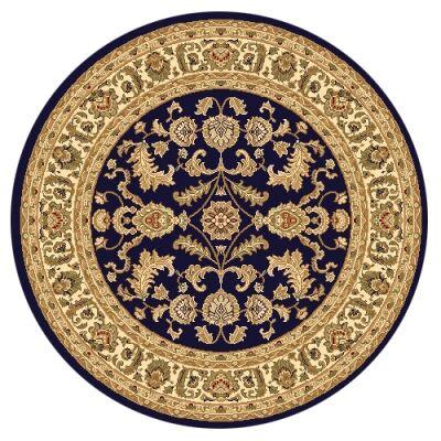 Julian Tait Turkish Made Oriental Round Rug, 160cm, Navy / Cream