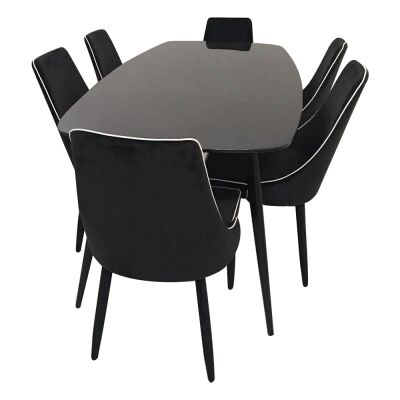 Jupiter 7 Piece Marble Topped Metal Dining Table Set, 180cm, with Carina Chair