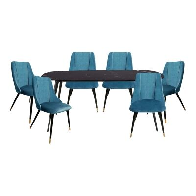 Jupiter 7 Piece Marble Topped Metal Dining Table Set, 180cm, with Sofia Chair