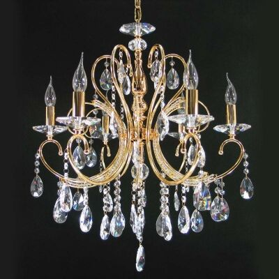 Persephone Asfour Crystal Chandelier, 6 Arm, Gold
