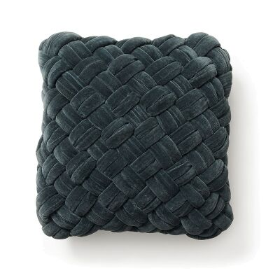 Emilija Braided Cotton Velvet Scatter Cushion, Dark Grey